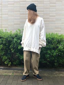 堀江店のもりおさんのLeeの【ユニセックス】バックプリント クルーネツク長袖を使ったコーディネート