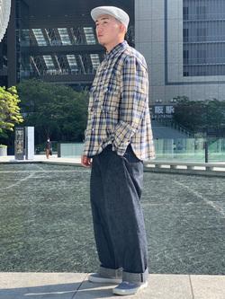 LINKS UMEDA店の数斗さんのEDWINのミリタリーチェックネルシャツ 長袖(US NAVY CPO SHIRTSタイプ)を使ったコーディネート