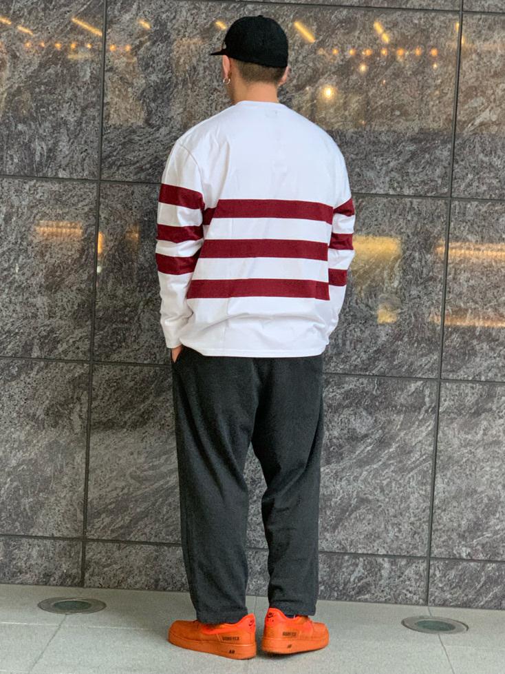 LINKS UMEDA店の数斗さんのEDWINの【直営店限定】ボーダーロングスリーブTシャツを使ったコーディネート