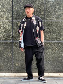 LINKS UMEDA店の中川 数斗さんのEDWINの【コンセプトショップ限定】EDWIN EUROPE TAROT DECK SHIRTを使ったコーディネート