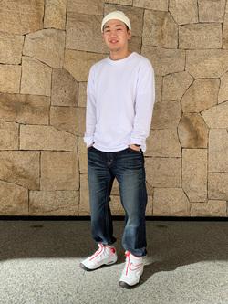 LINKS UMEDA店の数斗さんのEDWINの【シークレットセーール!!】【バックスタイルが決まる!】BLUE TRIP ルーズストレートを使ったコーディネート