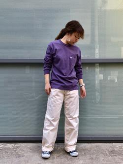 堀江店のチャンハタさんのLeeのワンポイントロゴ刺繍ポケット付きTシャツ/長袖を使ったコーディネート
