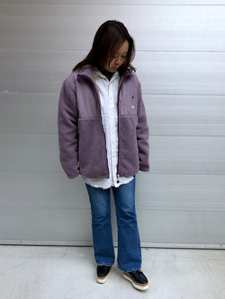 堀江店のチャンハタさんのLeeの【ユニセックス】フリースジップアップジャケットを使ったコーディネート