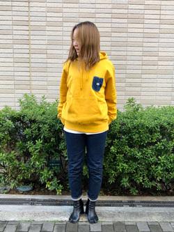 堀江店のチャンハタさんのLeeの【Pre sale】【男女兼用】バックプリント長袖Tシャツを使ったコーディネート