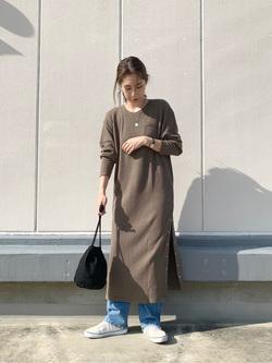 エスパル仙台店のeriさんのLeeの【感謝祭15%OFFクーポン対象】サーマルロングドレスを使ったコーディネート