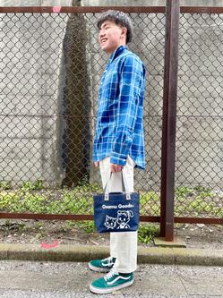 錦糸町PARCO店(閉店)のつなさんのEDWINの【ガレージセール】インディゴチェックシャツ 長袖を使ったコーディネート