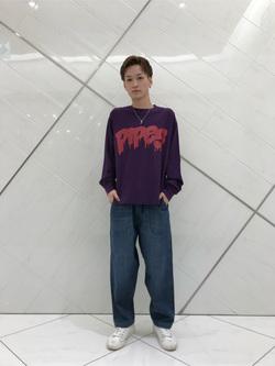 熊本COCOSA店のSHOGOさんのLeeの【トップス15%OFFクーポン対象】Pipes ルーズシルエット ロングTシャツ/プリントを使ったコーディネート