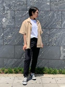 DENIM GALAXY南堀江店のRieさんのEDWINの【SALE】オープンカラー 半袖シャツを使ったコーディネート