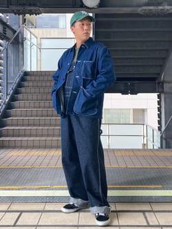 DENIM GALAXY日暮里店のTOMMYさんのEDWINの【直営店限定商品】デニム カバーオールジャケットを使ったコーディネート