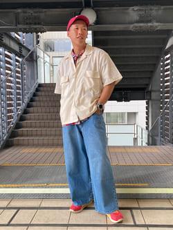 DENIM GALAXY日暮里店のTOMMYさんのEDWINの【EDWIN 60周年限定】 半袖シャツを使ったコーディネート