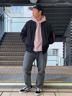 DENIM GALAXY日暮里店のTOMMYさんのALPHAの【期間限定10%OFF】L-2B ボンディングジャケットを使ったコーディネート
