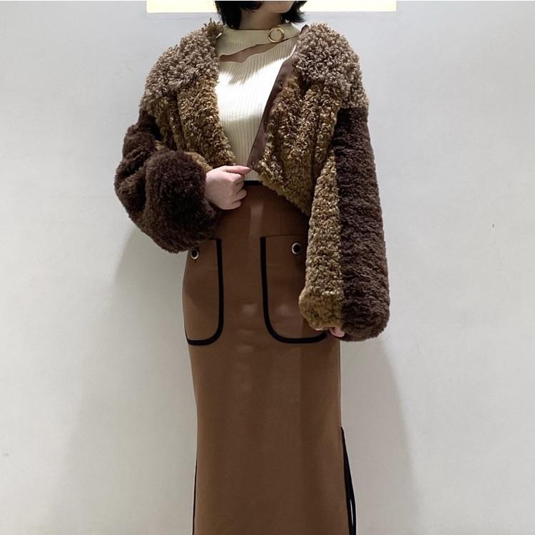 配色細ベルト付きオリジナルチェックストライプ柄スカート