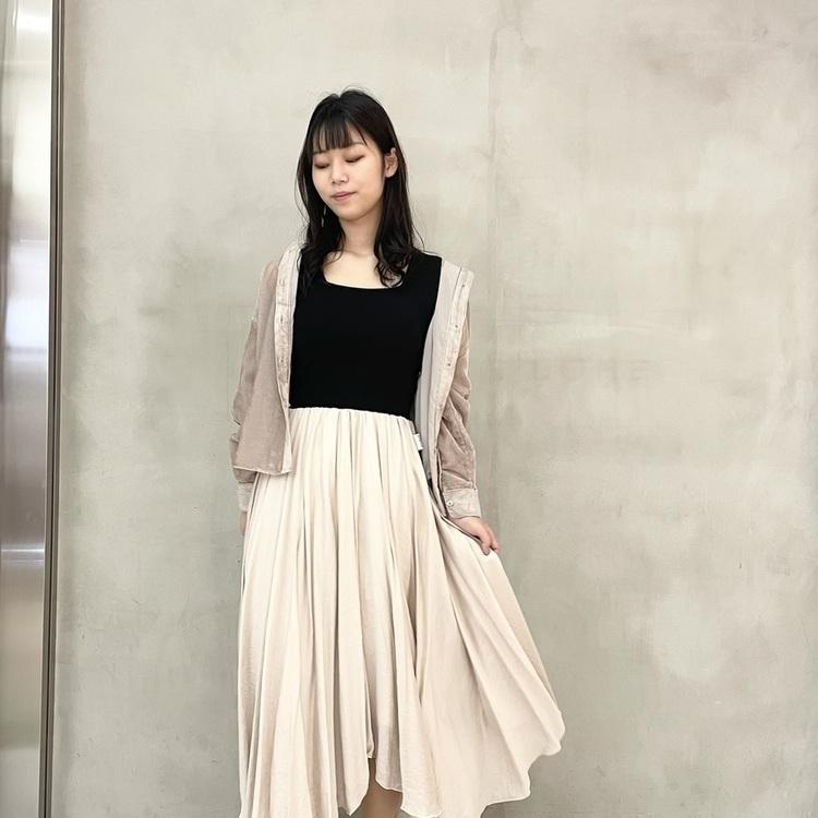 裾チュールウエストリブロングスカート